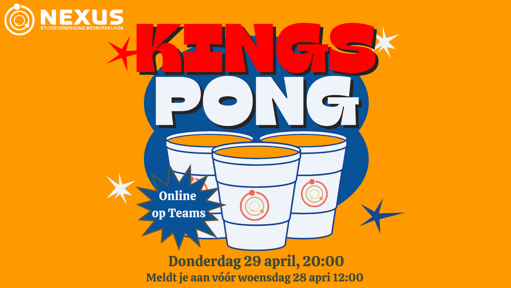 Online borrel: Kingspong!